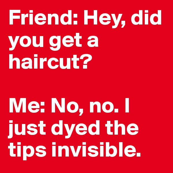 Friend: Hey, did you get a haircut?   Me: No, no. I just dyed the tips invisible.