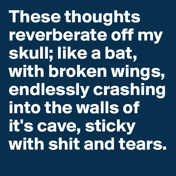 These thoughts reverberate off my skull; like a bat, with broken wings, endlessly crashing into the walls of it's cave, sticky with shit and tears.