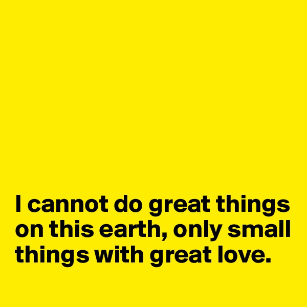 I cannot do great things on this earth, only small things with great love.
