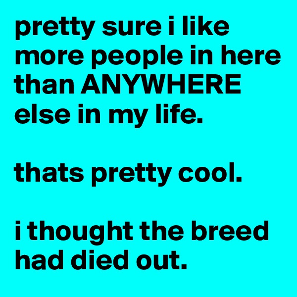 pretty sure i like more people in here than ANYWHERE else in my life.   thats pretty cool.   i thought the breed had died out.
