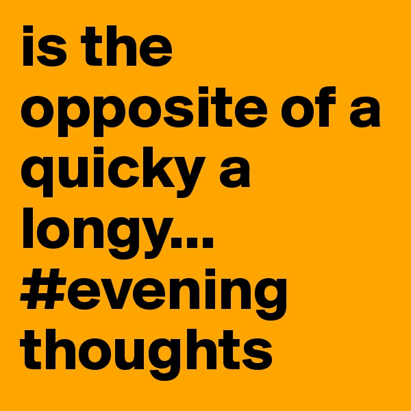 is the opposite of a quicky a longy... #evening thoughts