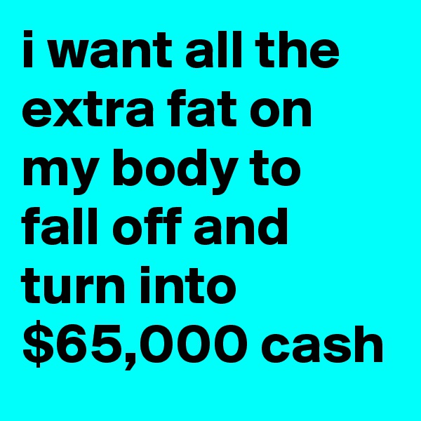 i want all the extra fat on my body to fall off and turn into $65,000 cash