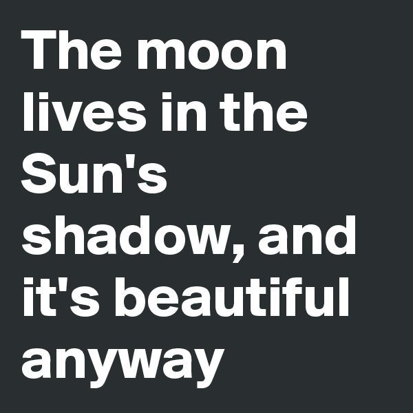 The moon lives in the Sun's shadow, and it's beautiful anyway