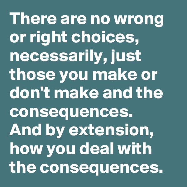 There are no wrong or right choices, necessarily, just those you make or don't make and the consequences.    And by extension, how you deal with the consequences.