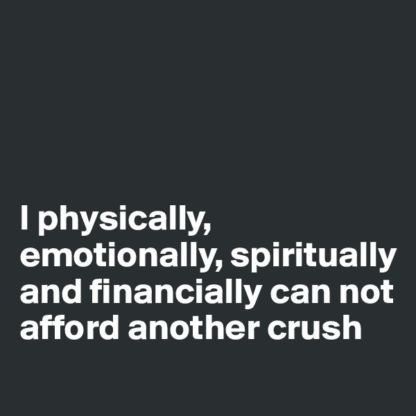 I physically, emotionally, spiritually and financially can not afford another crush
