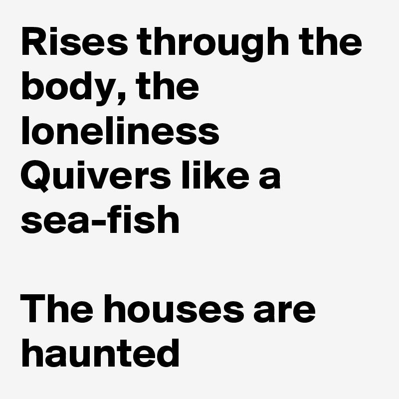 Rises through the body, the loneliness Quivers like a sea-fish  The houses are haunted
