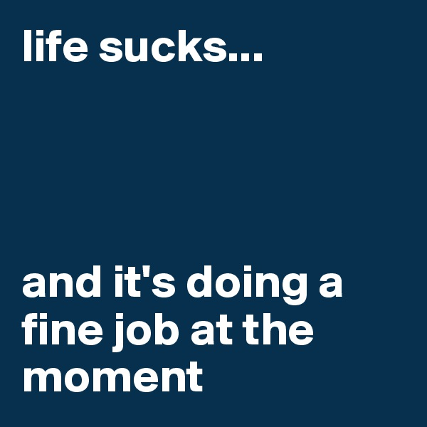 life sucks...              and it's doing a fine job at the moment