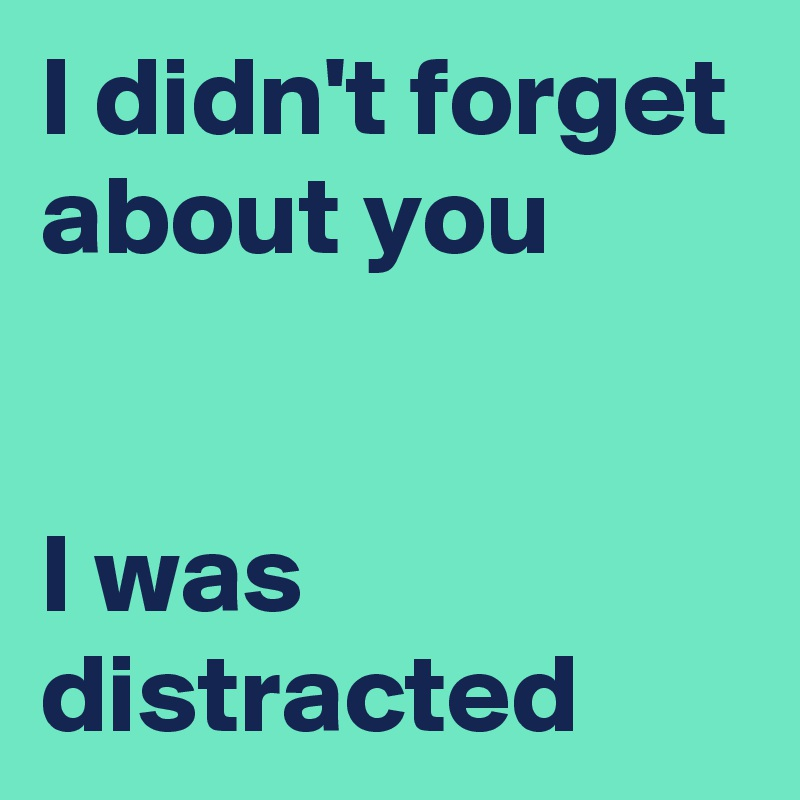 I didn't forget about you   I was distracted