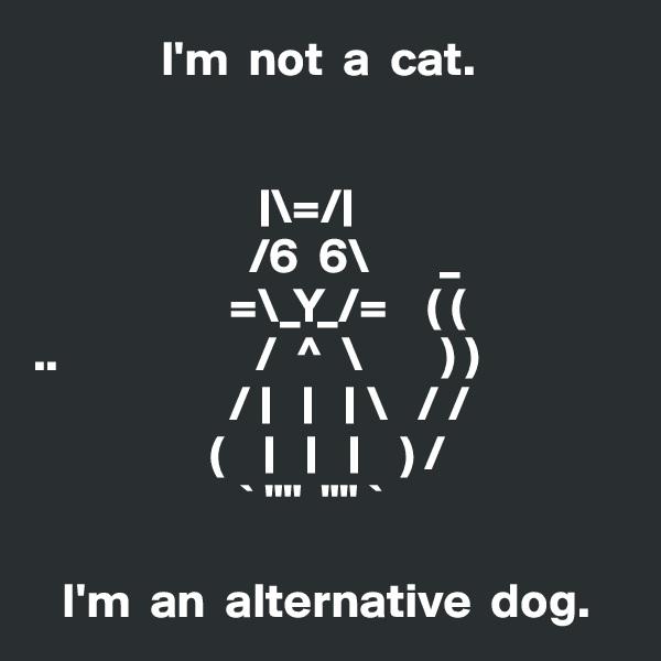 "I'm  not  a  cat.                           \=/                        /6  6\       _                     =\_Y_/=    ( ( ..                    /  ^  \        ) )                     /           \   / /                   (                 ) /                      ` """"  """" `     I'm  an  alternative  dog."