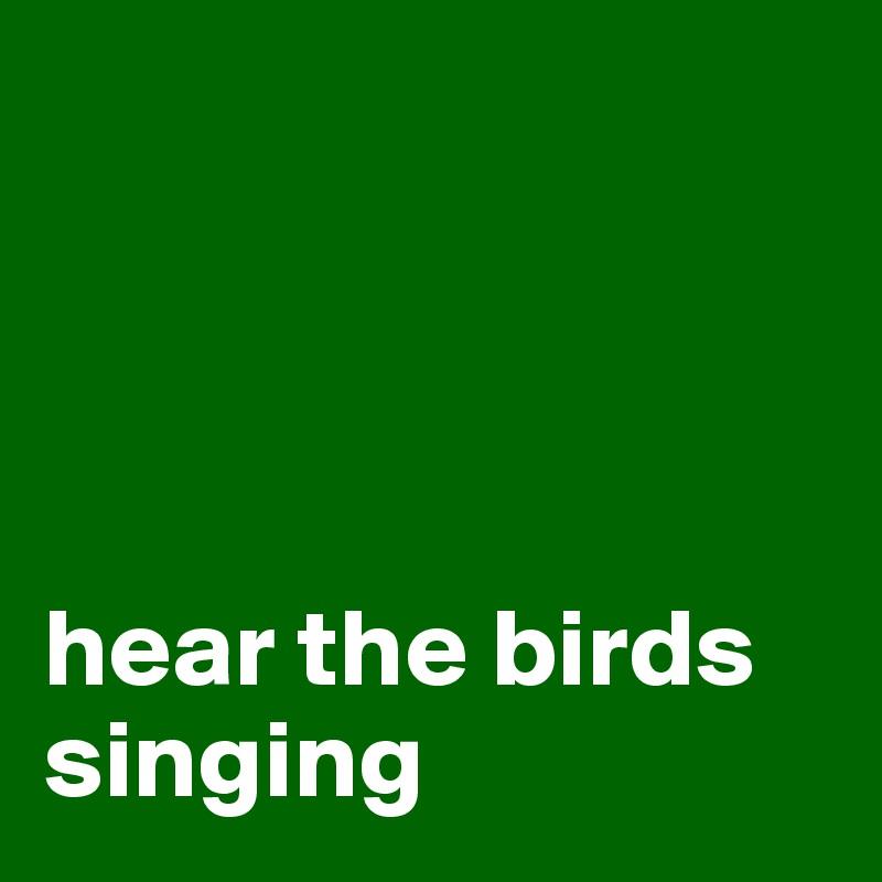 hear the birds singing