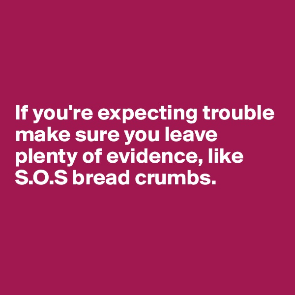 If you're expecting trouble make sure you leave plenty of evidence, like S.O.S bread crumbs.