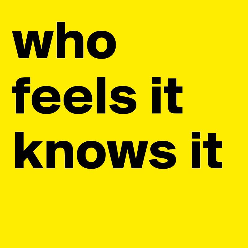 who feels it knows it