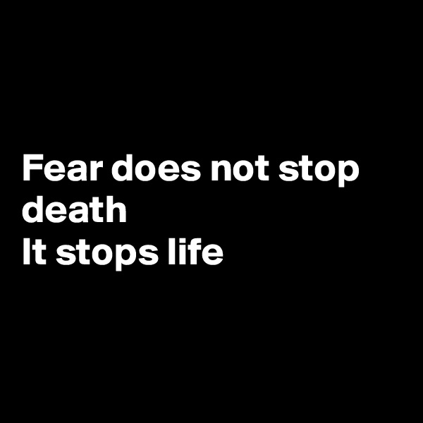 Fear does not stop death  It stops life