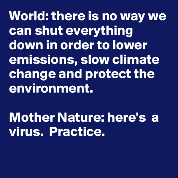 World: there is no way we can shut everything down in order to lower emissions, slow climate change and protect the environment.   Mother Nature: here's  a virus.  Practice.