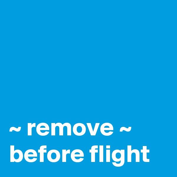 ~ remove ~ before flight