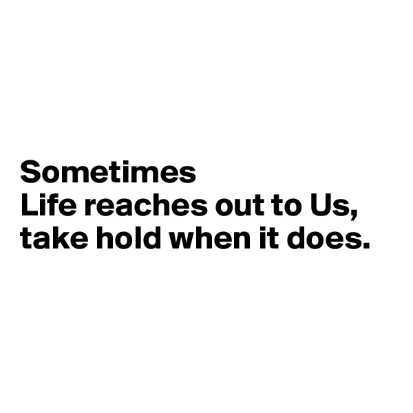 Sometimes  Life reaches out to Us, take hold when it does.