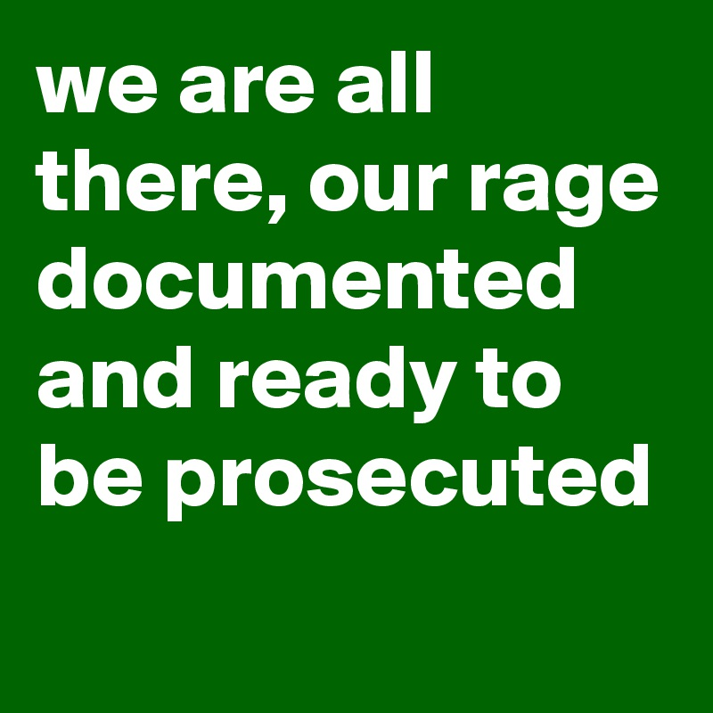 we are all there, our rage documented and ready to be prosecuted