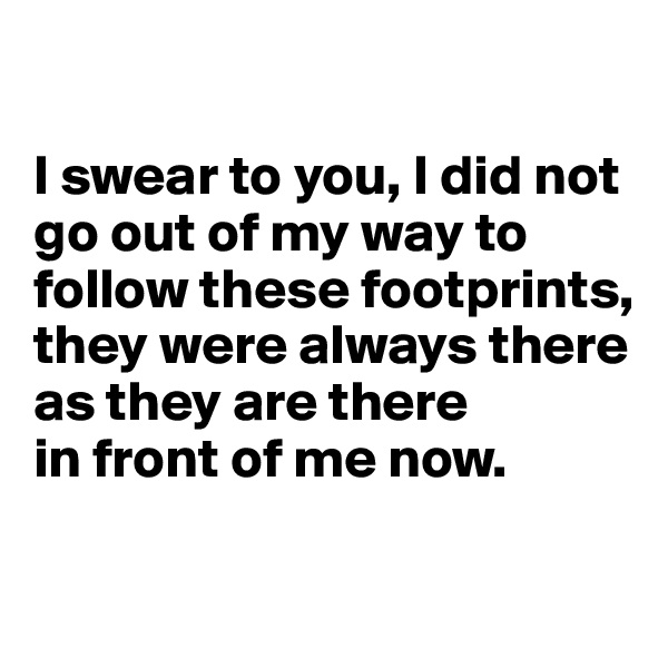 I swear to you, I did not go out of my way to follow these footprints, they were always there as they are there  in front of me now.