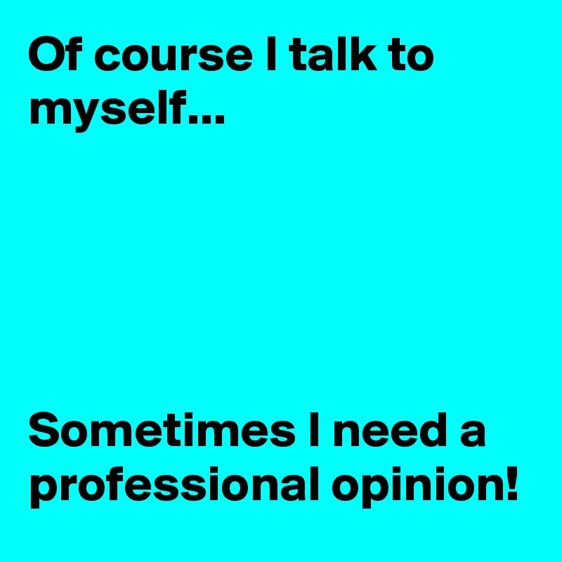 Of course I talk to myself...      Sometimes I need a professional opinion!