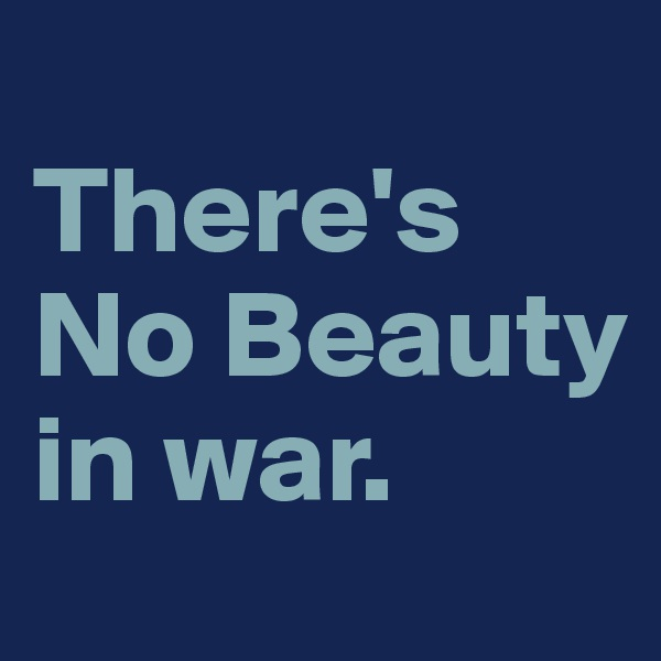 There's No Beauty  in war.