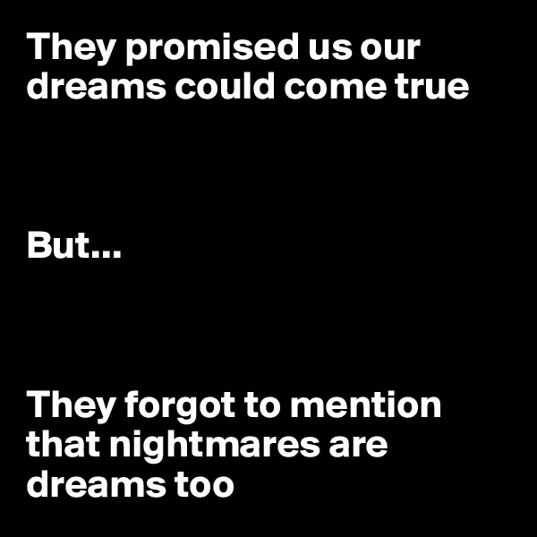 They promised us our dreams could come true    But...    They forgot to mention that nightmares are dreams too