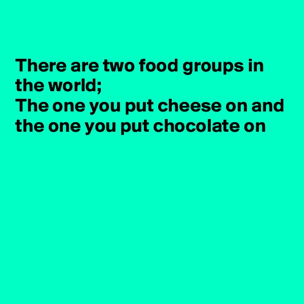 There are two food groups in the world; The one you put cheese on and the one you put chocolate on