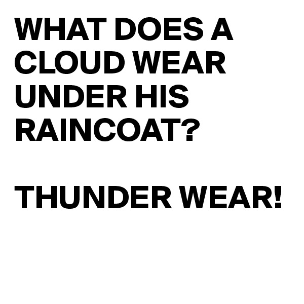 WHAT DOES A  CLOUD WEAR UNDER HIS RAINCOAT?  THUNDER WEAR!