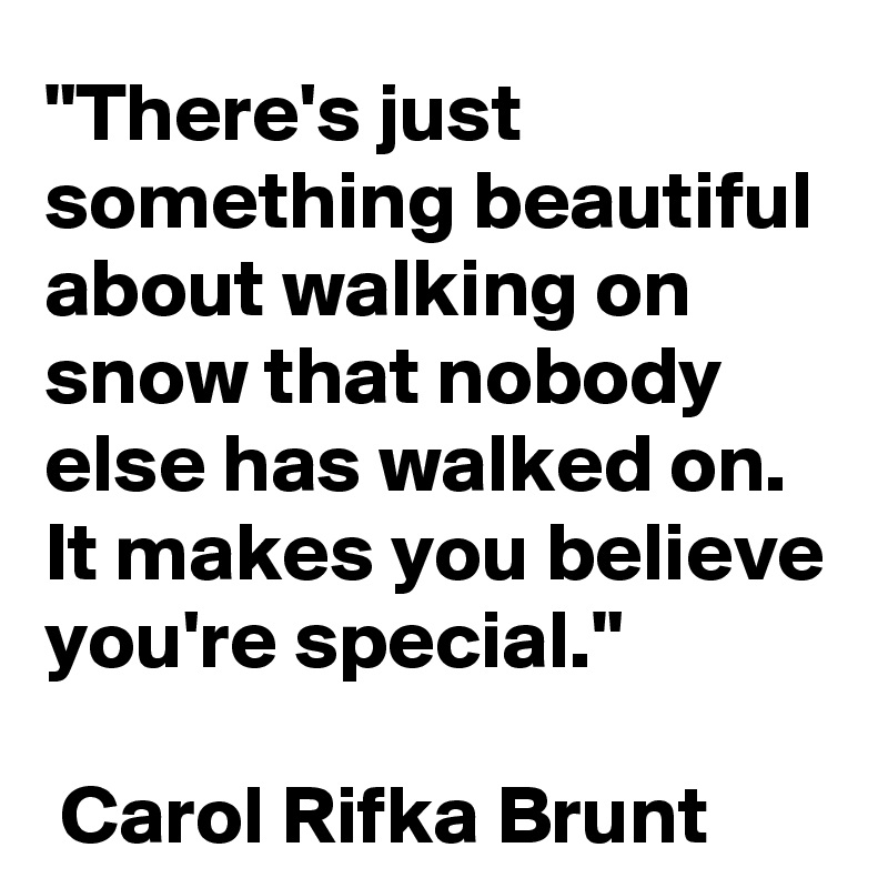 """There's just something beautiful about walking on snow that nobody else has walked on. It makes you believe you're special.""   Carol Rifka Brunt"