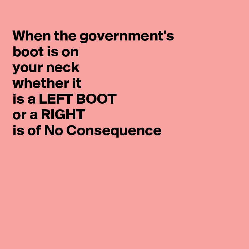When the government's  boot is on  your neck whether it is a LEFT BOOT  or a RIGHT is of No Consequence