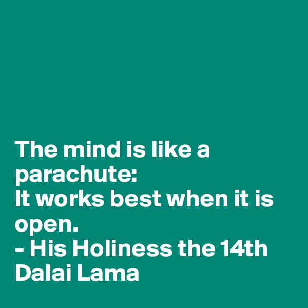 The mind is like a parachute: It works best when it is open. - His Holiness the 14th Dalai Lama