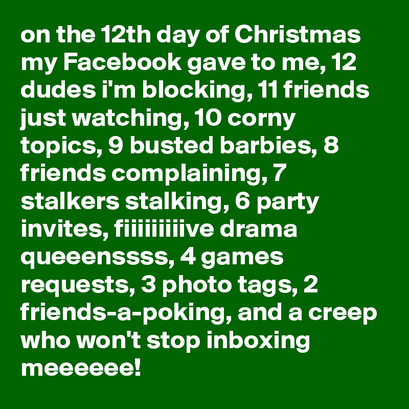 on the 12th day of christmas my facebook gave to me 12 dudes im blocking 11 friends just watching 10 corny topics 9 busted barbies - On The 12th Day Of Christmas