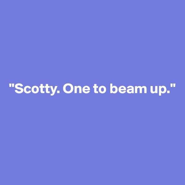"""""""Scotty. One to beam up."""""""
