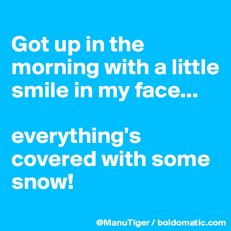 Got up in the morning with a little smile in my face...  everything's covered with some snow!