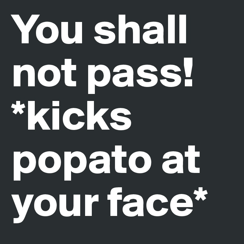 You shall not pass!  *kicks popato at your face*