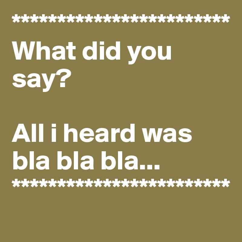 ************************ What did you say?  All i heard was bla bla bla... ************************