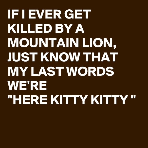 """IF I EVER GET KILLED BY A MOUNTAIN LION, JUST KNOW THAT MY LAST WORDS WE'RE  """"HERE KITTY KITTY """""""