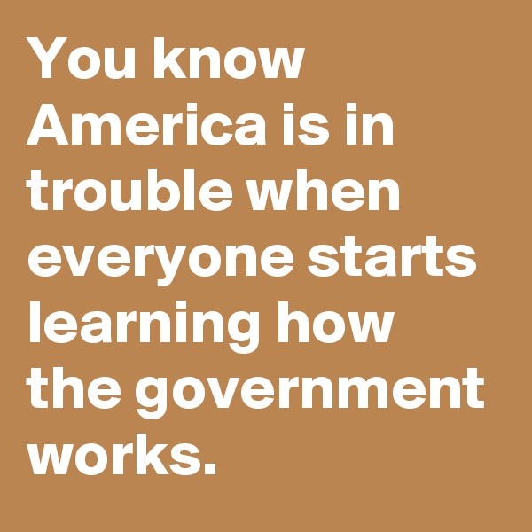 You know America is in trouble when everyone starts learning how the government works.