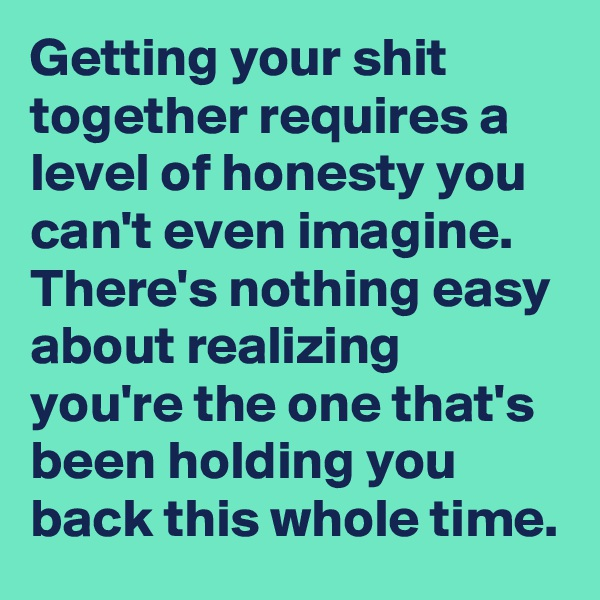 Getting your shit together requires a level of honesty you can't even imagine. There's nothing easy about realizing you're the one that's been holding you back this whole time.