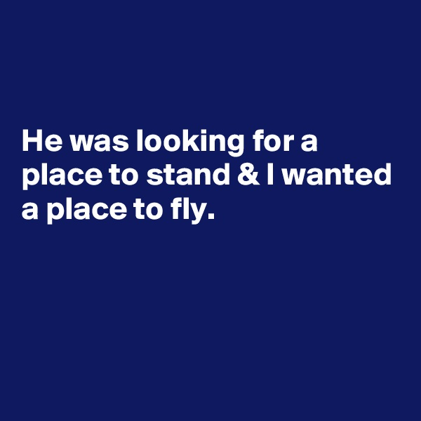 He was looking for a place to stand & I wanted a place to fly.