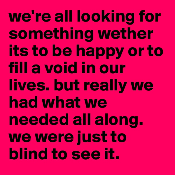 we're all looking for something wether its to be happy or to fill a void in our lives. but really we had what we needed all along. we were just to blind to see it.