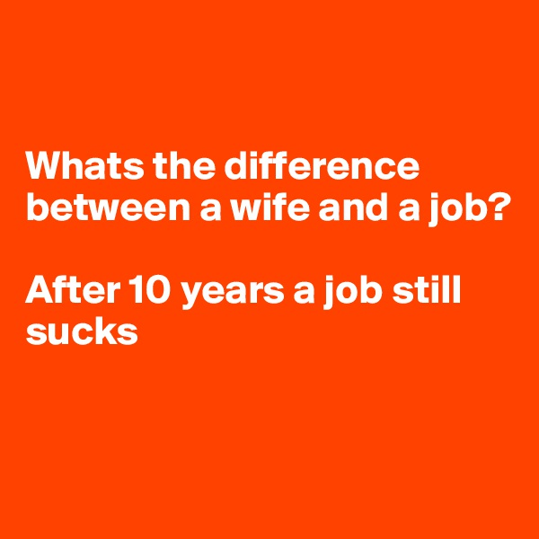 Whats the difference between a wife and a job?   After 10 years a job still sucks