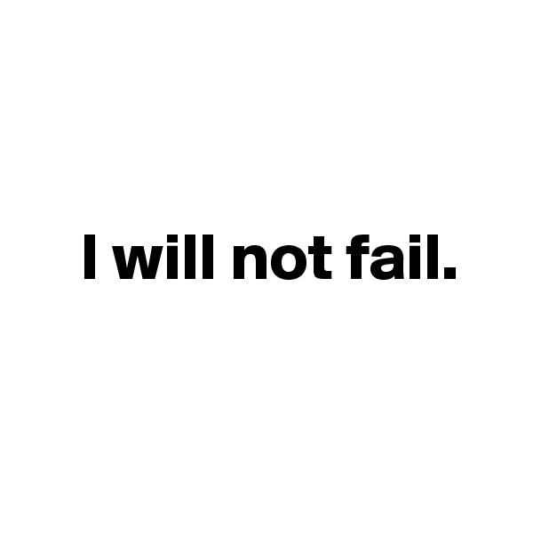 I will not fail.