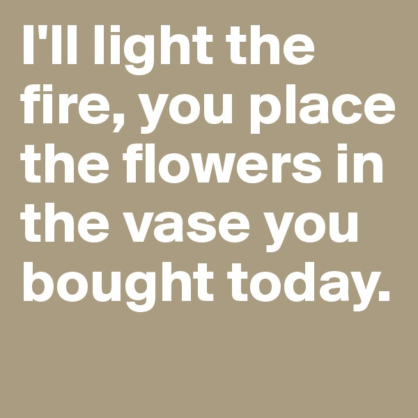 I'll light the fire, you place the flowers in the vase you bought today.
