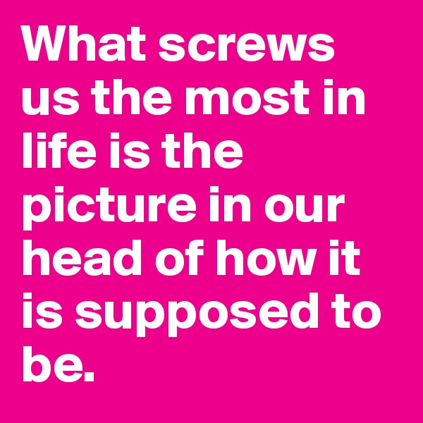 What screws us the most in life is the picture in our head of how it is supposed to be.