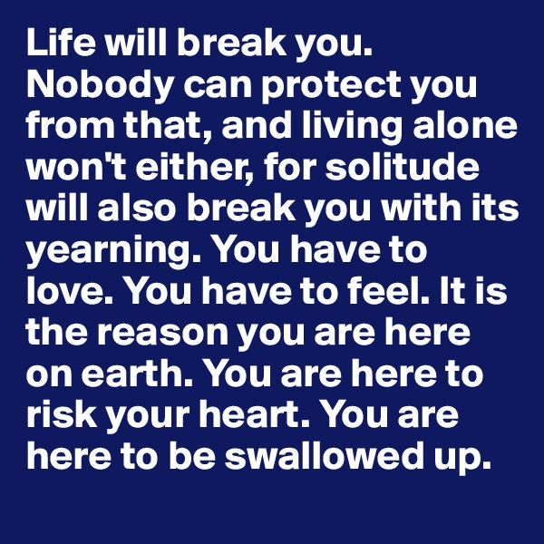 Life will break you. Nobody can protect you from that, and living alone won't either, for solitude will also break you with its yearning. You have to love. You have to feel. It is the reason you are here on earth. You are here to risk your heart. You are here to be swallowed up.