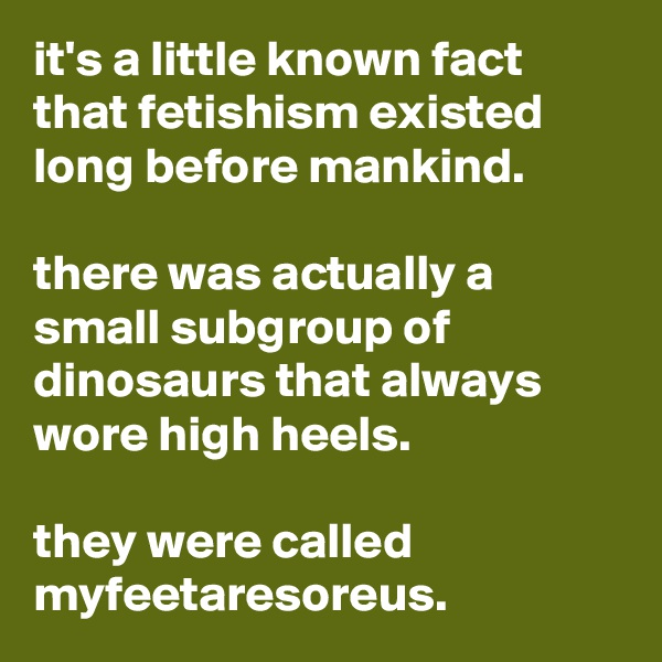 it's a little known fact that fetishism existed long before mankind.   there was actually a small subgroup of dinosaurs that always wore high heels.   they were called myfeetaresoreus.