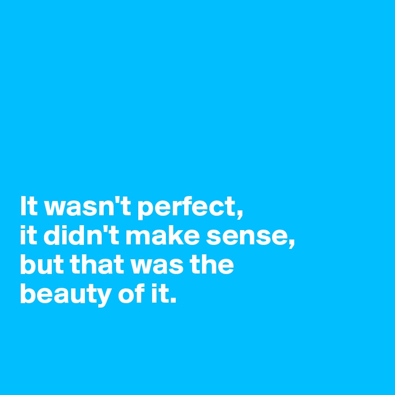 It wasn't perfect,  it didn't make sense,  but that was the  beauty of it.
