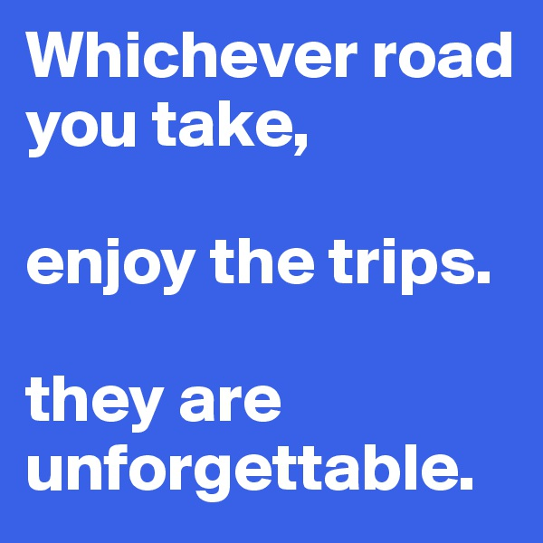 Whichever road you take,   enjoy the trips.   they are unforgettable.