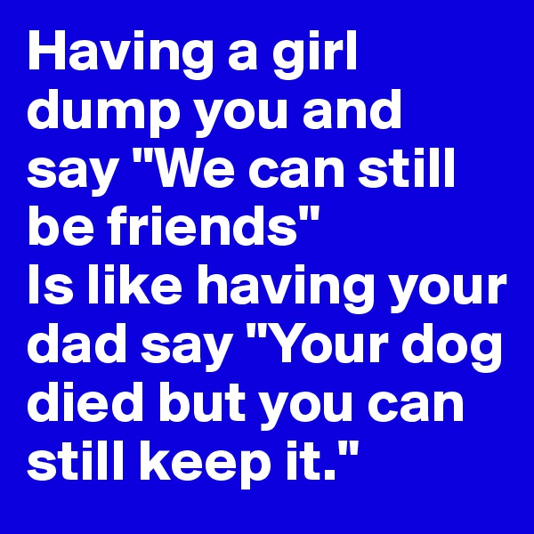 """Having a girl dump you and say """"We can still be friends"""" Is like having your dad say """"Your dog died but you can still keep it."""""""