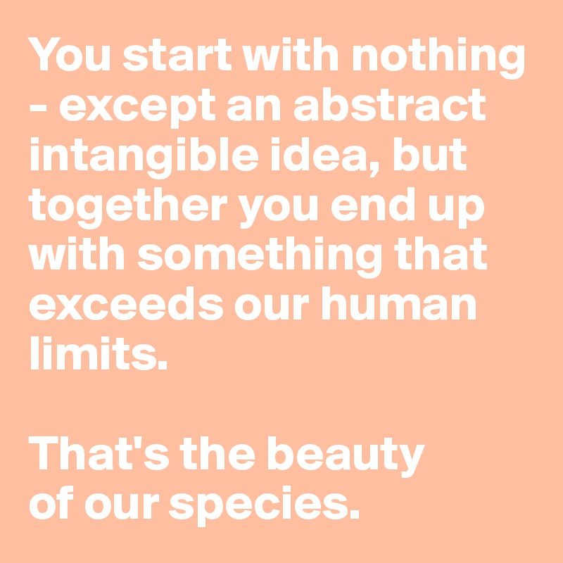You start with nothing - except an abstract intangible idea, but together you end up with something that exceeds our human limits.   That's the beauty  of our species.